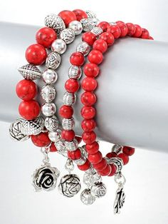 Red Coral And Silver Bangle Bracelets with Silver Rose Charms | TaosSouthwest…