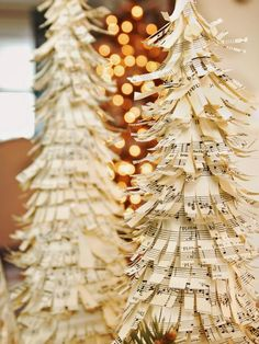 Made out of a foam base and sheet music cut into strips, these festive Christmas trees create stunning holiday decor.