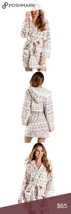 """PJ SALVAGE Pompom Chenille Hooded Robe Description  Wrap yourself up in total comfort and warmth wearing this ultra plush microfiber robe.   Mini waffle leo print hooded robe with front panel patch pockets, sherpa trim on hood and pocket openings, drawcord with sherpa pom poms at each end, and sash. (36"""" center front length) PJ Salvage Intimates & Sleepwear Robes"""