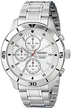 BUY NOW Seiko Chronograph Silver Dial Stainless Steel Mens Watch SKS397 Stainless steel case with a stainless steel bracelet. Stainless steel bezel.