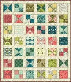 Tutla Pink free pattern - Freespirit website. An easy beginners quilt but I think I would make the sashing narrower or change the colour of it from white to one of the 'quieter' shades in the quilt, like lemon or grey in this quilt..so that the colour isn't separated out as much.