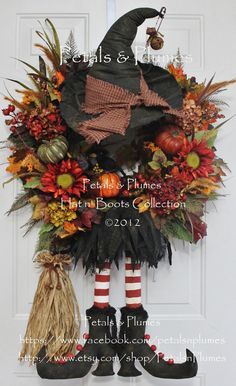 "PRE-ORDER for ""2016"" Delivery-Halloween Fall Witch Wreath-Primitive Witch Wreath-Petals & Plumes-ORIGINAL Creator of the Character Wreath"