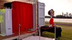 We put our Photobooth in this open sea container last December on a windy day, it looked great! This was an amazing venue hosted by Events Perth with the Perth city as the backdrop for these Christmas functions.