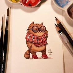 Inspiração - Cozy Cats por @iraville Visite Artedrops.com para mais inspiração!