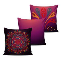 KIT com 3 Almofadas Decorativas Mandala 45x45cm - ALMAND012 - Pano e Arte