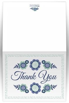 Blue bloom thank you note card with cute flowers and dot border