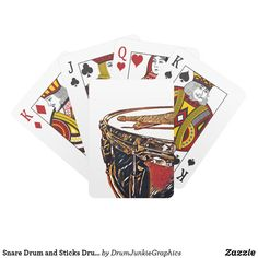 Snare Drum and Sticks Drummer Playing Cards