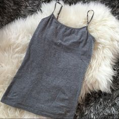 Gray Spaghetti Strap Top Love this to sleep in or to dress up with a cardigan ❤️ size small with a built in bra :) more photos upon request  Tops
