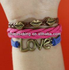 Lábio charme pulseira de couro, love charm pulseira de couro, bracelete de couro trançado, pulseira da amizade - portuguese.alibaba.com