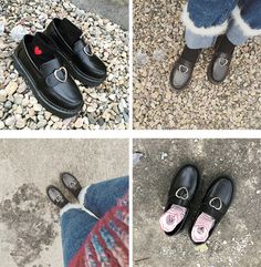 """071d1da4852 PLATFORM HEART BUCKLE BLACK LEATHER CLOSED BOOTS💝Use coupon """"ITPIN"""" to get  10. itGirl Shop"""