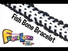 Finger Loom™ Fish Bone Bracelet by Rainbow Loom Rainbow Loom Tutorials, Rainbow Loom Patterns, Rainbow Loom Creations, Rainbow Loom Bands, Rainbow Loom Charms, Rainbow Loom Bracelets, Loom Band Patterns, Loom Bracelet Patterns, Monster Tail Loom