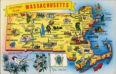 postcard - Massachusetts map | Jassy-50 | Flickr