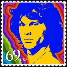 Jim Morrison postage stamp design; cool, but not a real stamp