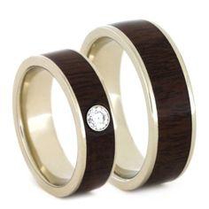 Wood Wedding band set white gold rings