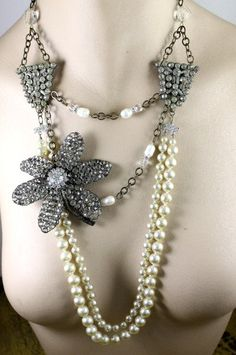 Assemblage Altered Necklace w/ Pearls, Rhinestone Flower Applique Embellishment and Deco Dress Clips..........$155