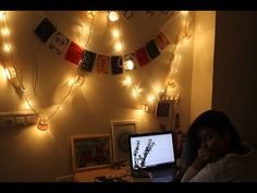 Home decor ideas using fairy lights or string lights/ Diwali