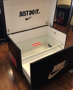 Giant Shoe Box Storage, Shoe Storage, Storage Boxes, Basketball Bedroom, Sneakers Box, Gaming Room Setup, Teenage Room, Master Bedroom Makeover, Beauty Room