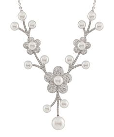 Look at this White Pearl & Sterling Silver Flower Necklace on #zulily today!