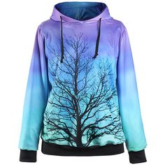 Jade Blue Tree Print Front Pocket Hooded Sweatshirt (£12) ❤ liked on Polyvore featuring tops, hoodies, blue hoodie, long sleeve hoodies, print top, blue print top and print hoodie
