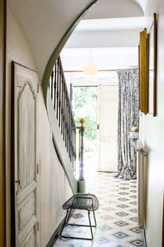 "This lovely entrance is from our feature ""Best Kept Secret"" Best Kept Secret, Country Living, Oversized Mirror, Entrance, Photographs, Stairs, Furniture, Home Decor, Country Life"
