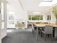 Grey Floor tiles with white aluminium frames