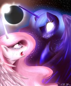 "Triggering the Solar Eclipse by Rebecka-chan.deviantart.com on @deviantART from the artist: ""This is a fanart of Celestia and Luna in their younger years when Celestia tries to reason with Luna as she unwillingly becomes Nightmare Moon."""