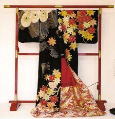 Silk oiran uchikake (in this case, not a wedding kimono) dating to the late 19th century, Japan.  Surviving oiran kimono are very rare
