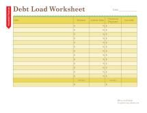 Free Household Notebook with 36 Printables: Debt Load Worksheet