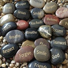 I really love gratitude and inspirational home decor.  Its fun, easy and the perfect way to have a beautiful home.  Not only will your home be beautiful but a place of motivation and inspiration.   This is easily done by using one of these cute, cool and trendy inspirational home decor accents.      Engraved Inspirational Stones