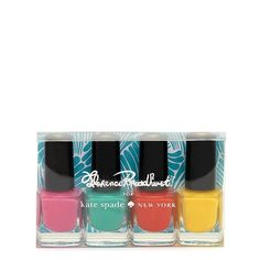 Kate Spade Travel Nail Polish set.  Colors inspired by the colorful works of Florence Broadhurst, an Australian artist.