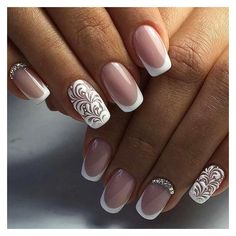 16 Easy Wedding Nail Art Ideas for Short Nails ❤ liked on Polyvore featuring beauty products, nail care, nail treatments and wedding