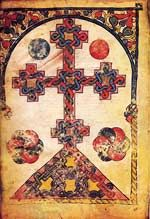 Representations of crosses raised on an ornamental base and decorated with floral motifs or with interlaced bands are usually found in the margins of Armenian manuscripts, full-page crosses occurring only in the earliest known books (ninth and tenth centuries). Such crosses form a prominent feature of the art of Eastern Christendom, especially of Syrian art. In many cases the ornamental and compositional treatment of the crosses is evocative of Armenian khatchkars.�Representationer av…