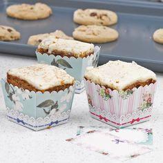 """Backförmchen """"Nostalgie"""" zur Hochzeit, Rechteckige Backförmchen in 2 Designs für Ihre selbst gebackenen kleinen Kuchen für Ihre Hochzeitsgäste"""