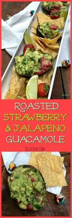 Roasted Strawberry and Jalapeño Guacamole Best Appetizer Recipes, Best Appetizers, Easy Dinner Recipes, Tailgating Recipes, Easter Recipes, Healthy Crockpot Recipes, Vegetarian Recipes, Healthy Dips, Yummy Recipes