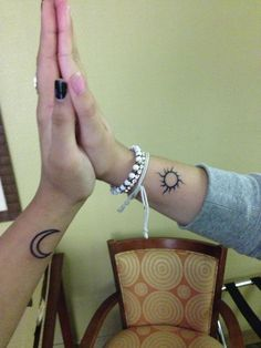 Me and my best friend sun and moon tattoo
