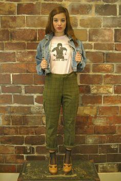 Vintage Green Plaid Trouser Pants 26 Waist by littlebrooklynstpete, $24.00