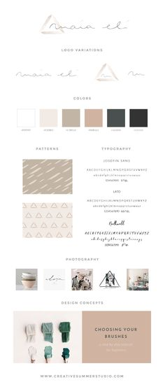 Brand style guide for Maia Eli, a painting and design studio. With soft shades, pale nudes, minimal typography, discreet, but intentional brush strokes combined with geometric elements, and a custom handwritten logo, her new blog ended up being lovely. Click here to read the story behind this fun branding project. branding, rebranding, design, minimal design, brand identity, style guide, handwritten logo, minimal logo, feminine logo, nudes color palette