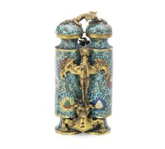 A rare gilt-bronze and cloisonné enamel 'champion' vase and cover, 18th century