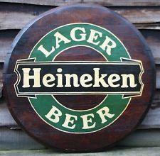 HEINEKEN LAGER BEER Wooden Pub Sign - Hand Painted Oak Barrel End