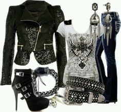 Perfect biker chick look. Perfect for me. :-) Take the shoes out too high for me even though it looks great together. Komplette Outfits, Casual Outfits, Fashion Outfits, Womens Fashion, Biker Outfits, Tomboy Outfits, Dance Outfits, Fashion Boots, Fashion Ideas