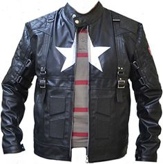 "Celebrita Itally Men's Captain America Avenger 5 Black Biker Leather Jacket CowA4 Cow Black L - For Chest 40""-42"" celebrita http://www.amazon.com/dp/B00LXQPWKI/ref=cm_sw_r_pi_dp_9H.aub1G8SMKA"
