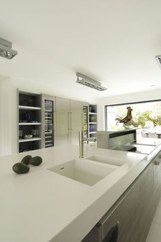poggenpohl kitchen in white, one piece sink and counter