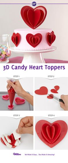Learn how to create Candy Melt Heart Toppers *LI Wilton Cake Decorating, Cake Decorating Tutorials, Cookie Decorating, Wilton Cakes, Fondant Cakes, Cupcake Cakes, Cake Topper Tutorial, Fondant Tutorial, Cake Toppers