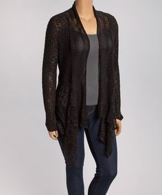 Look what I found on #zulily! Black Sheer Open Cardigan - Plus by Belldini #zulilyfinds