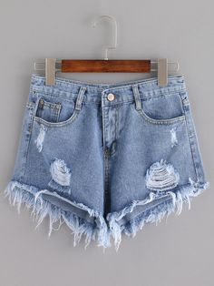Shop Blue Ripped Tassel Denim Shorts online. SheIn offers Blue Ripped Tassel Denim Shorts & more to fit your fashionable needs.