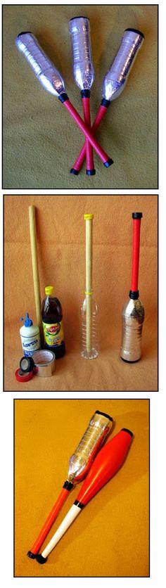 Zelf jongleersticks maken uit plastiek flessen.