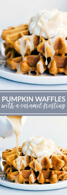 BEST EVER Cinnamon-Pumpkin Waffles with a Caramel Syrup (Kneader's Syrup Copycat) chelseasmessyapron.com