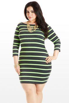 Plus Model: Nicole Zepeda,  Agency: MSA Models in New York City, l/s neon jersy stripe dress