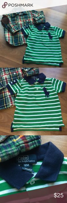 Polo Ralph Lauren boys 12 month flannel and Polo Polo Ralph Lauren infant boys shirts. Both size 12 month. One is a plaid flannel long sleeve button down with brown elbow patches. The other is a white and green polo with navy big pony and number 3 on sleeve. Both have minor was wear and are in excellent Used Condition Polo by Ralph Lauren Shirts & Tops