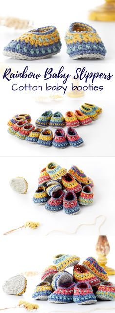 Cotton rainbow baby booties. What cute slippers! Gorgeous colours! #etsy #ad